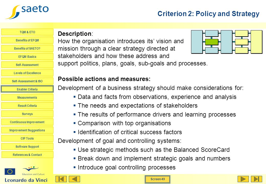 Criterion 2: Policy and Strategy