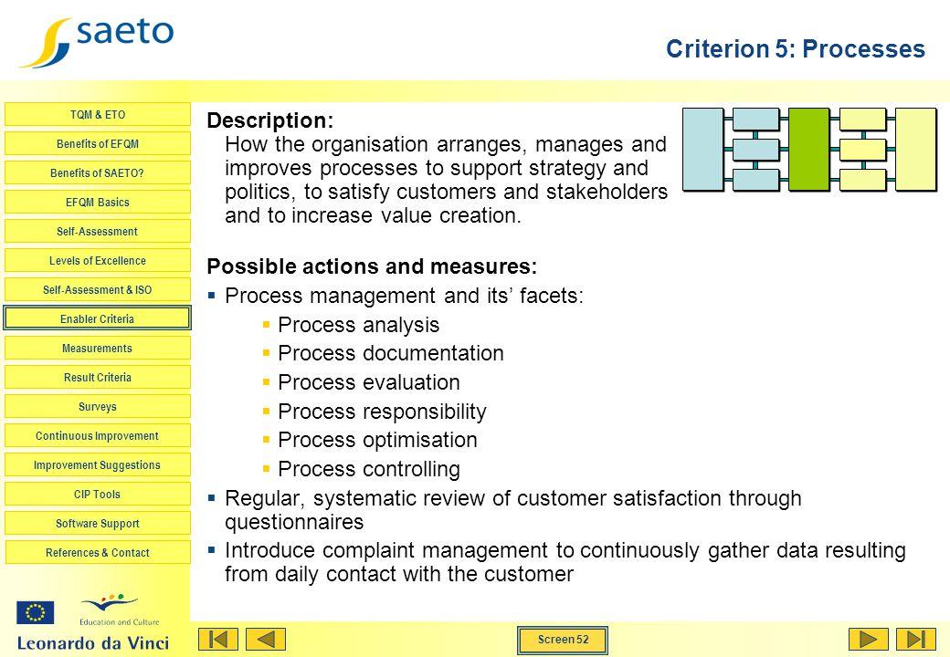 Criterion 5: Processes