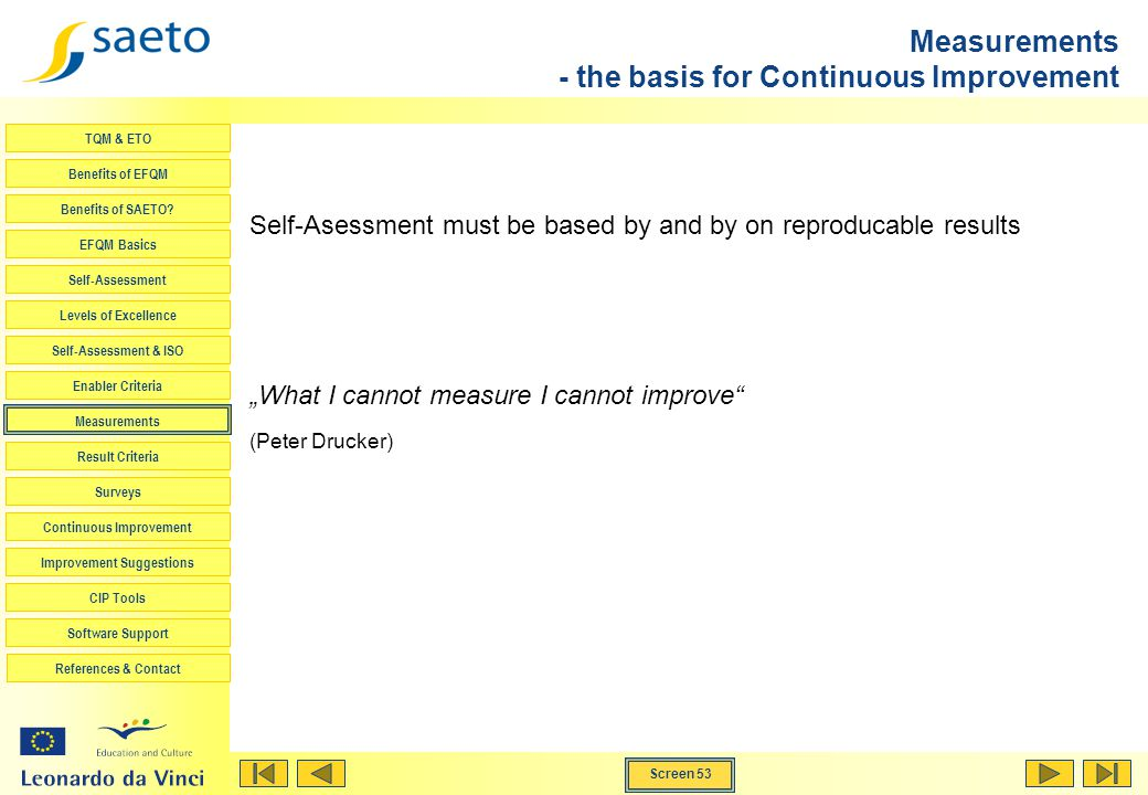 Measurements - the basis for Continuous Improvement