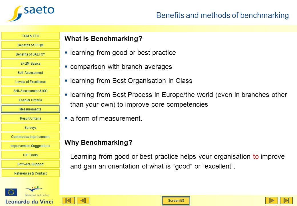 Benefits and methods of benchmarking