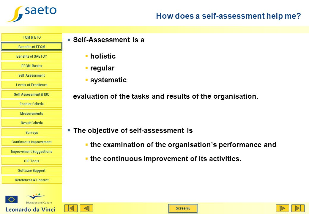 How does a self-assessment help me