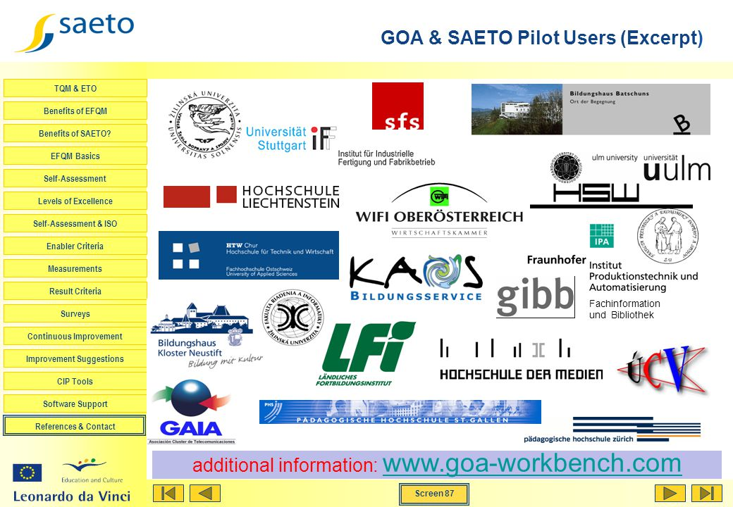 GOA & SAETO Pilot Users (Excerpt)