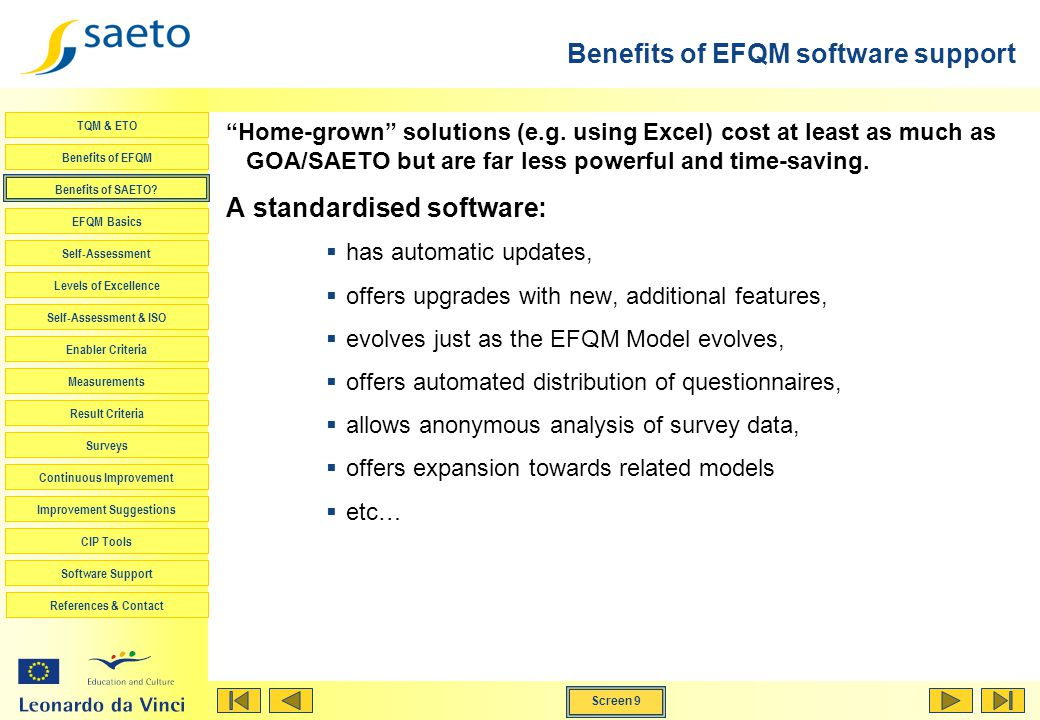 Benefits of EFQM software support