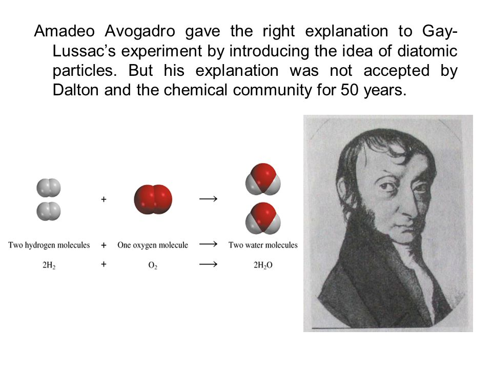 Amadeo Avogadro gave the right explanation to Gay-Lussac's experiment by introducing the idea of diatomic particles.