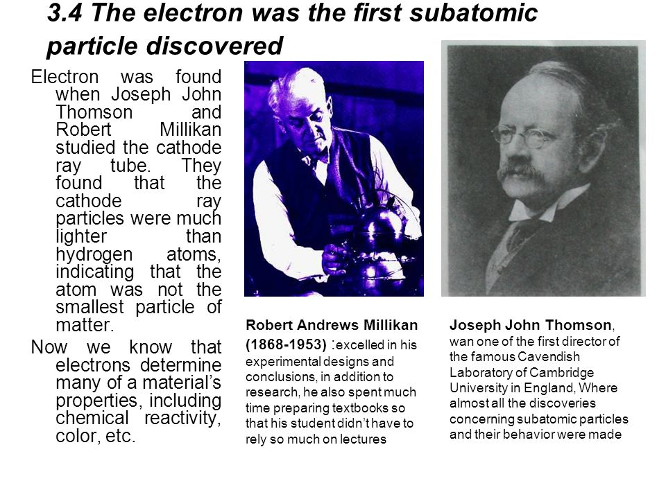 3.4 The electron was the first subatomic particle discovered