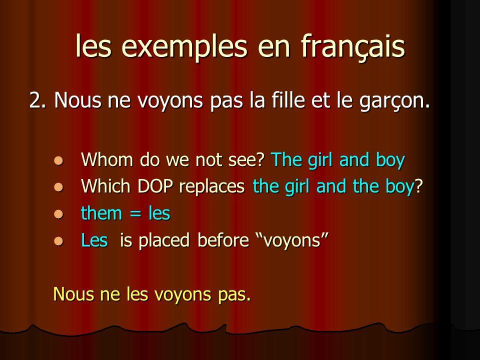 les exemples en français