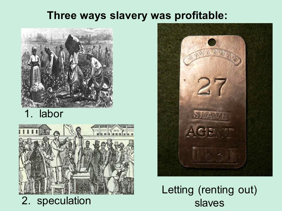 Three ways slavery was profitable: