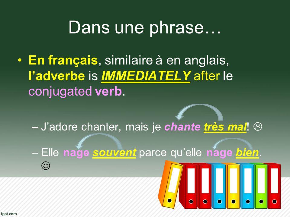 Dans une phrase… En français, similaire à en anglais, l'adverbe is IMMEDIATELY after le conjugated verb.