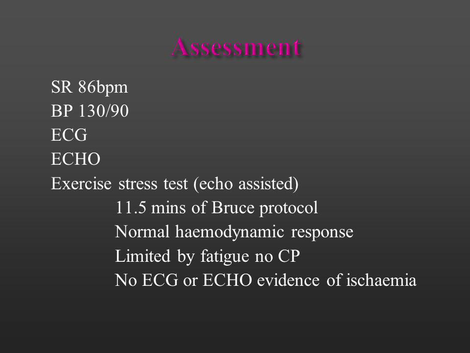 Assessment SR 86bpm BP 130/90 ECG ECHO