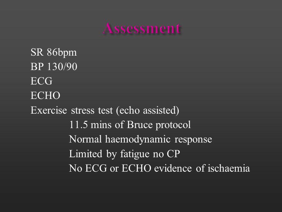 Assessment SR 86bpm BP 130/90 ECG ECHO