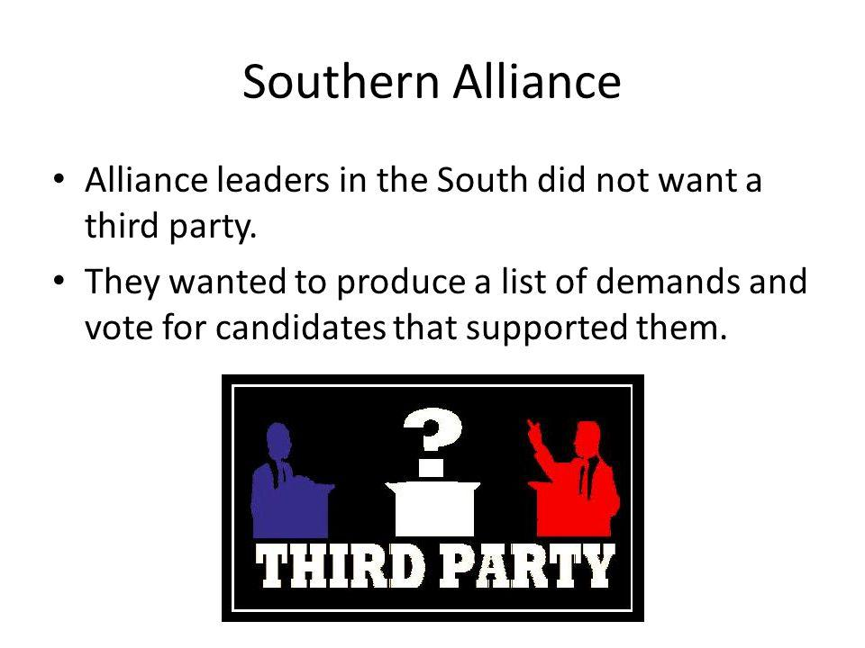 Southern Alliance Alliance leaders in the South did not want a third party.