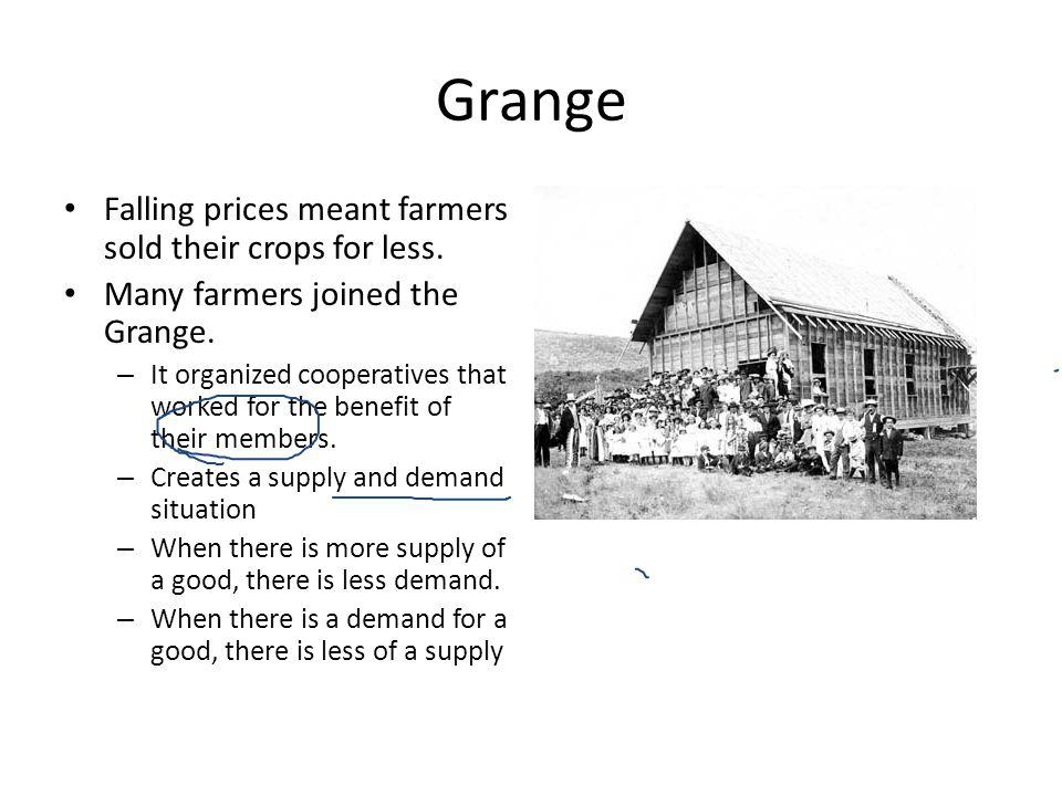 Grange Falling prices meant farmers sold their crops for less.
