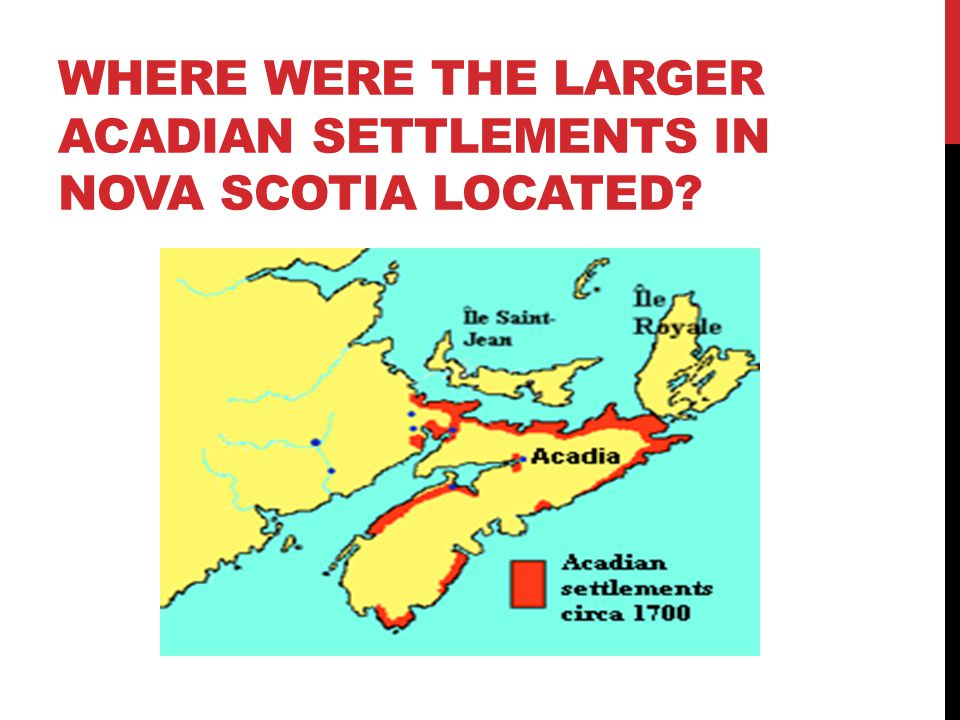 Where were the larger Acadian settlements in nova scotia located