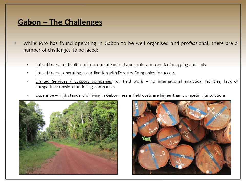 Gabon – The Challenges While Toro has found operating in Gabon to be well organised and professional, there are a number of challenges to be faced: