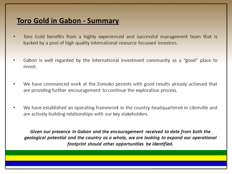 Toro Gold in Gabon - Summary