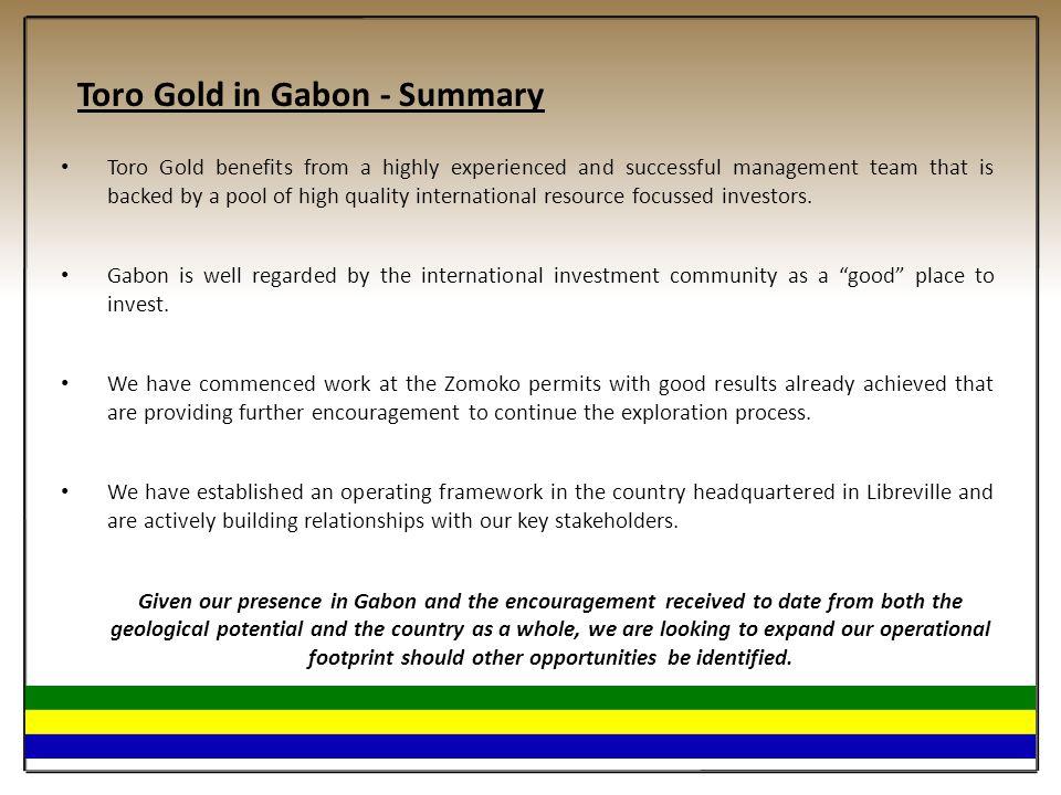 Toro Gold in Gabon - Summary