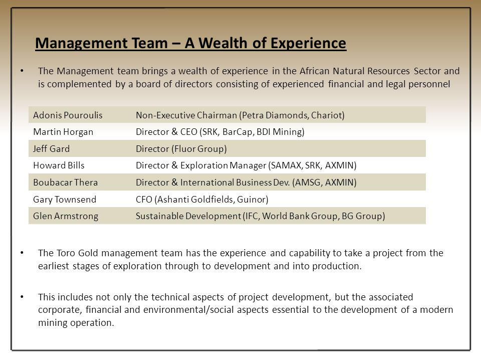 Management Team – A Wealth of Experience