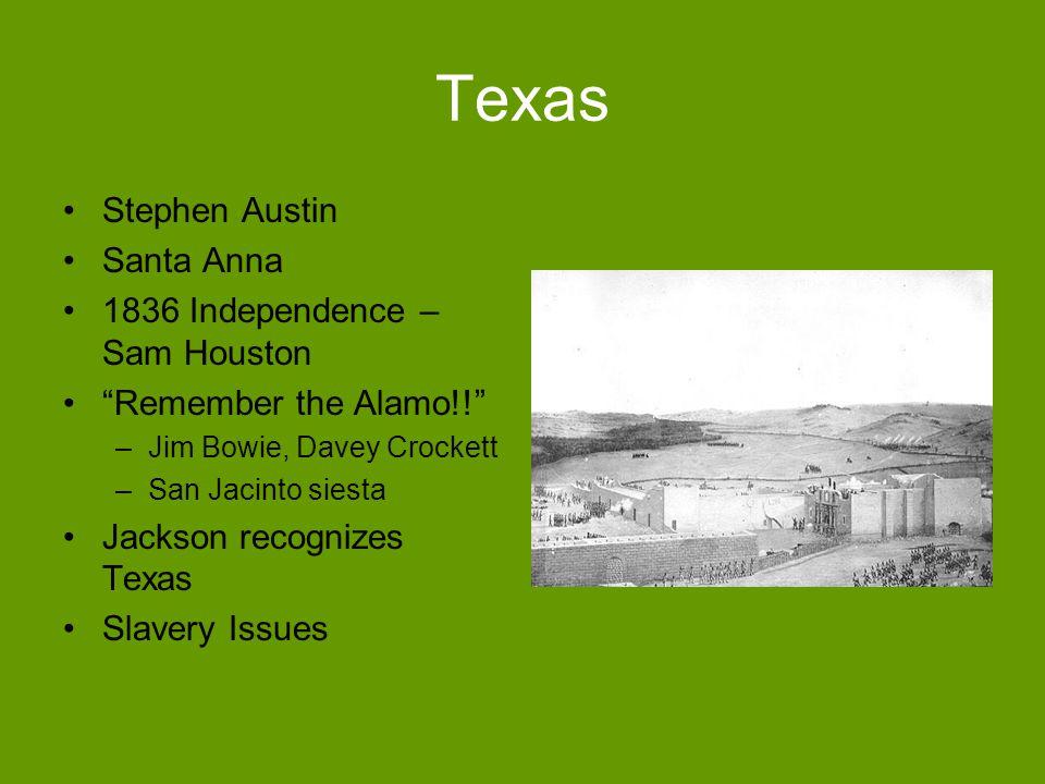 Texas Stephen Austin Santa Anna 1836 Independence – Sam Houston