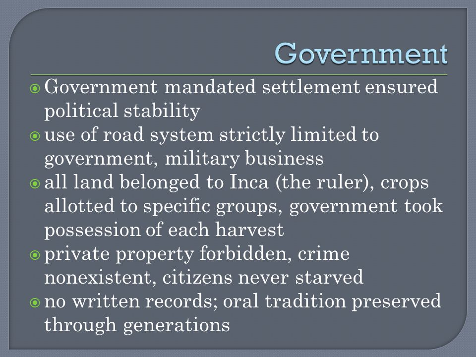 Government Government mandated settlement ensured political stability