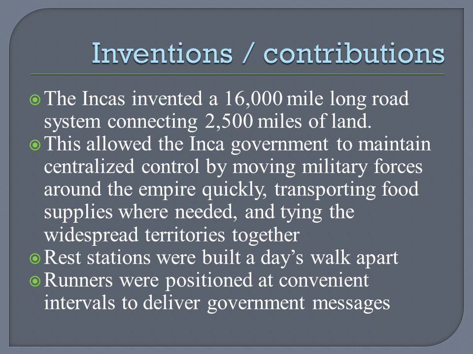 Inventions / contributions