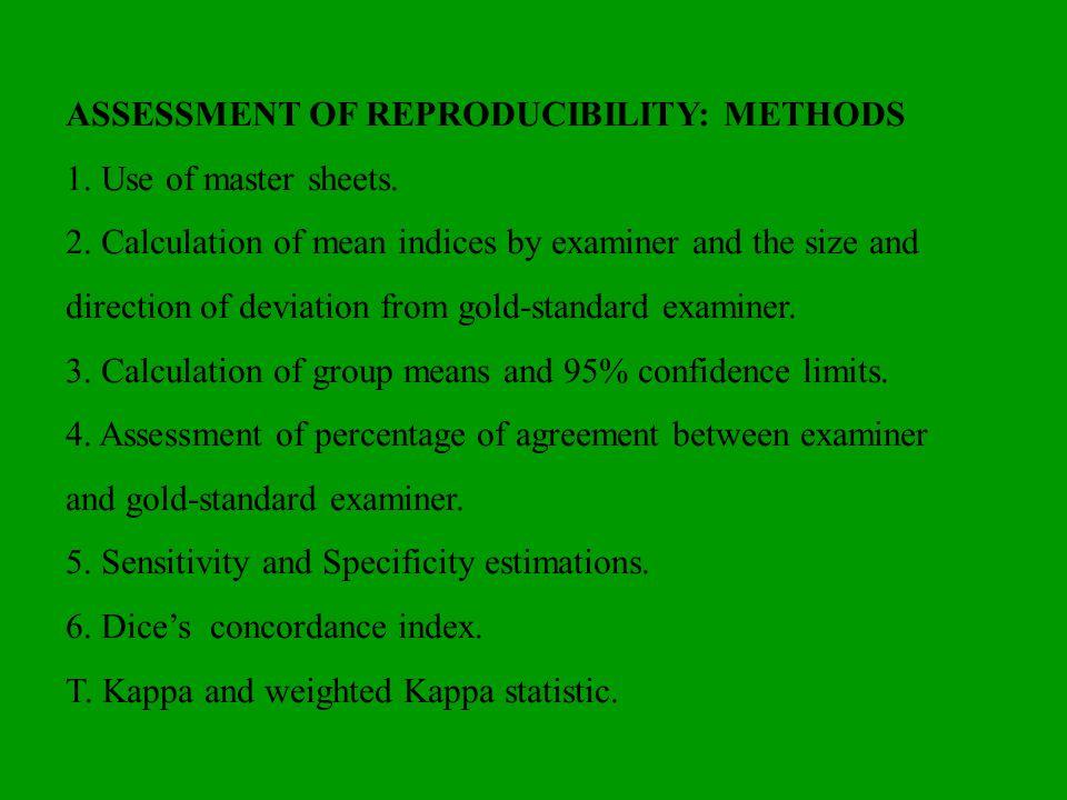ASSESSMENT OF REPRODUCIBILITY: METHODS
