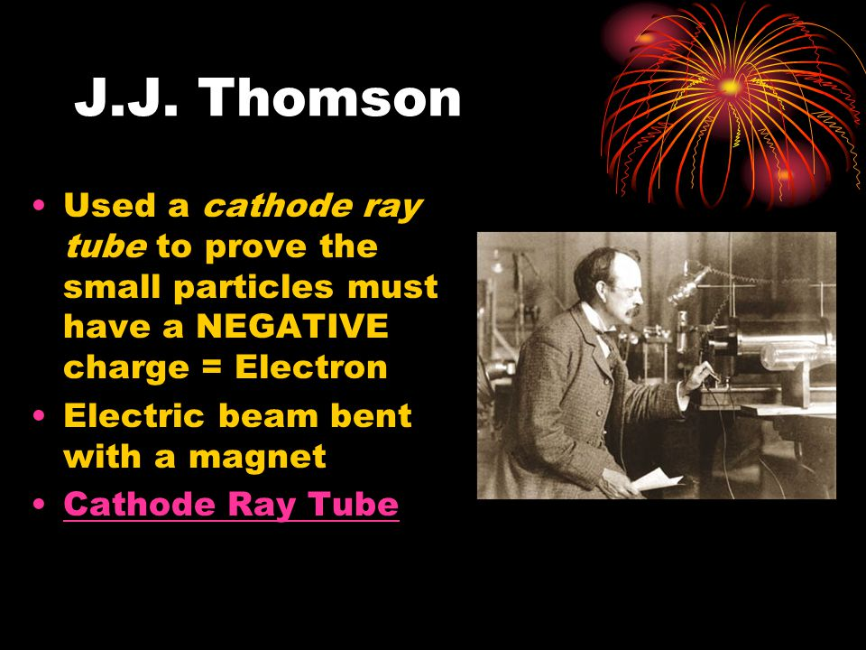 J.J. Thomson Used a cathode ray tube to prove the small particles must have a NEGATIVE charge = Electron.