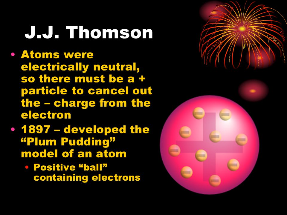 J.J. Thomson Atoms were electrically neutral, so there must be a + particle to cancel out the – charge from the electron.