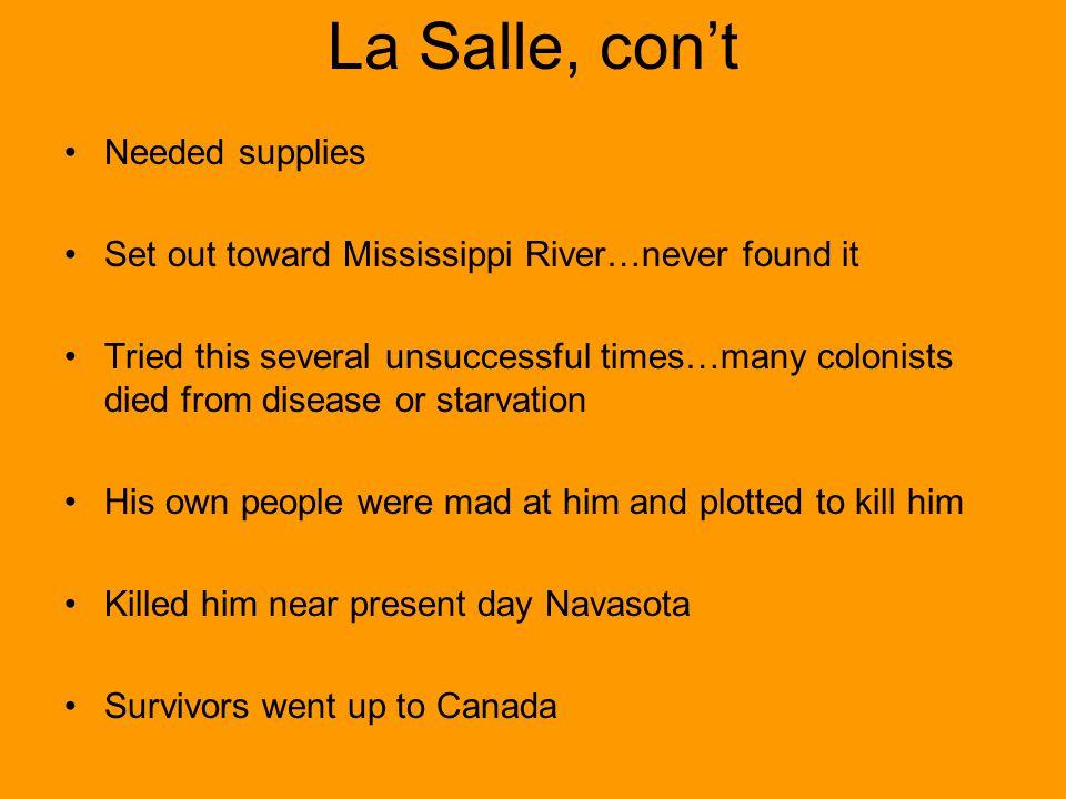 La Salle, con't Needed supplies