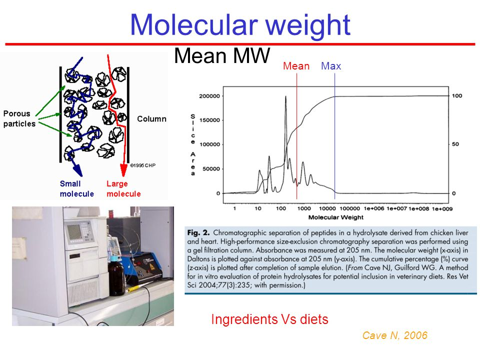 Molecular weight Mean MW Mean Max Ingredients Vs diets Cave N, 2006
