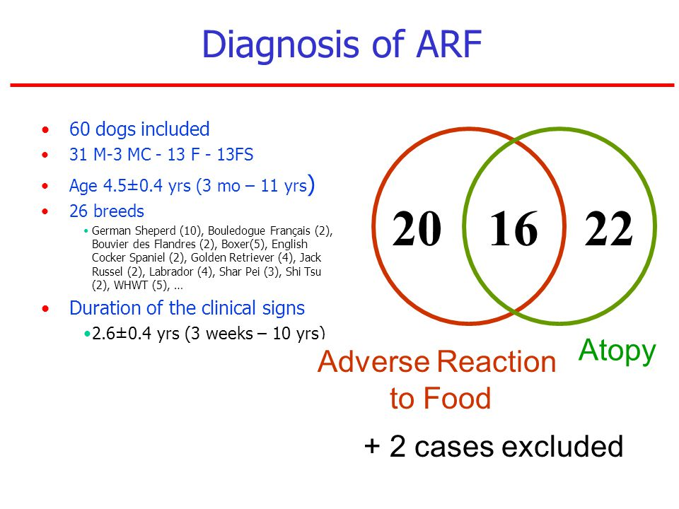 Diagnosis of ARF Atopy Adverse Reaction to Food