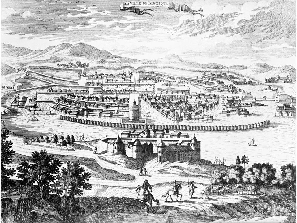 fig01_09.jpg Page 16: A 1671 engraving of Mexico City, built on the site of the Aztec capital, Tenochtitlán.