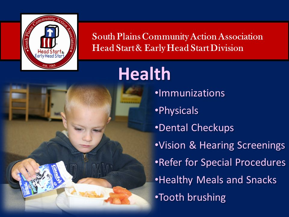 Health Immunizations Physicals Dental Checkups
