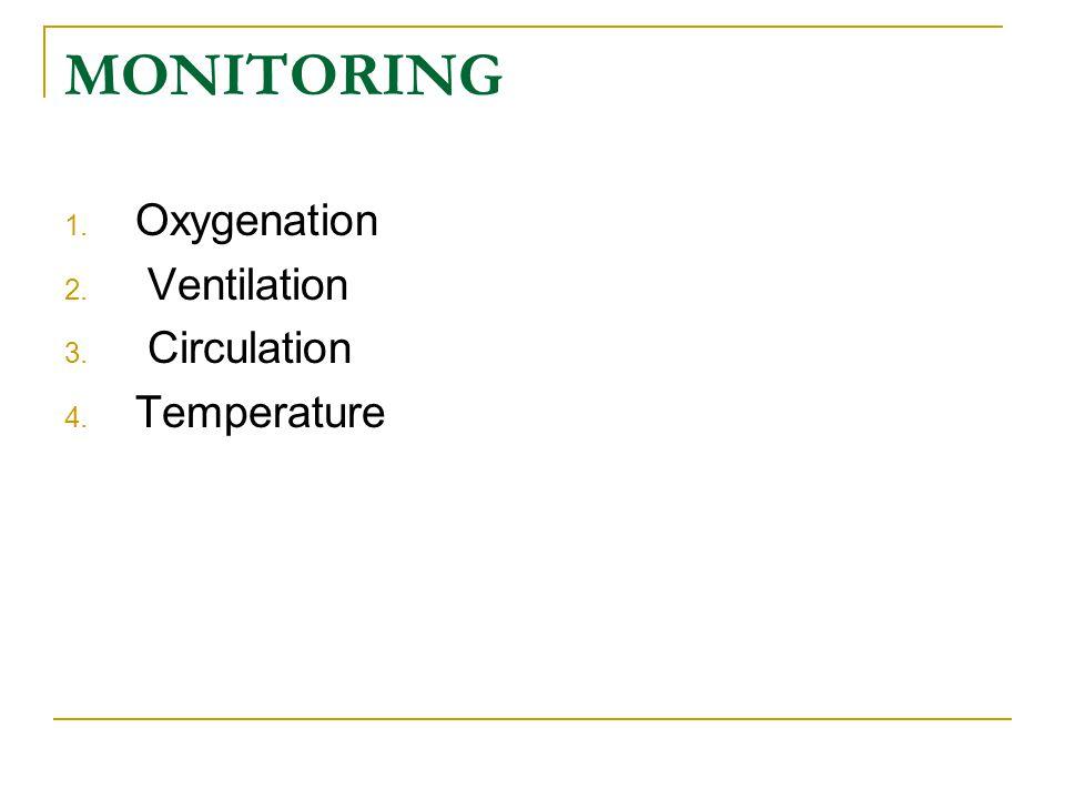 MONITORING Oxygenation Ventilation Circulation Temperature