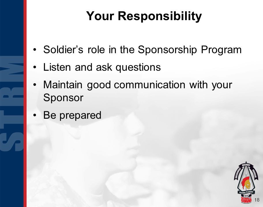 Your Responsibility Soldier's role in the Sponsorship Program