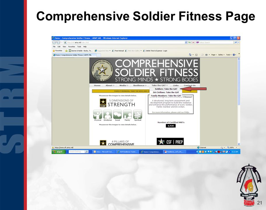 Comprehensive Soldier Fitness Page