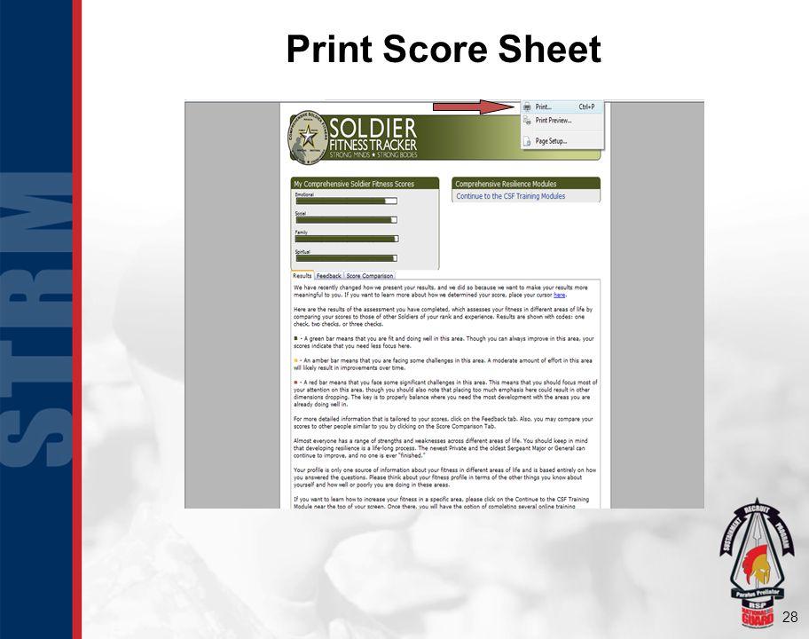 Print Score Sheet