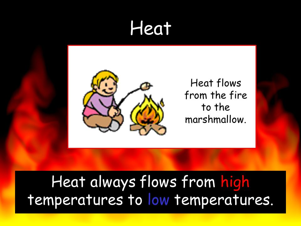 Heat Heat always flows from high temperatures to low temperatures.