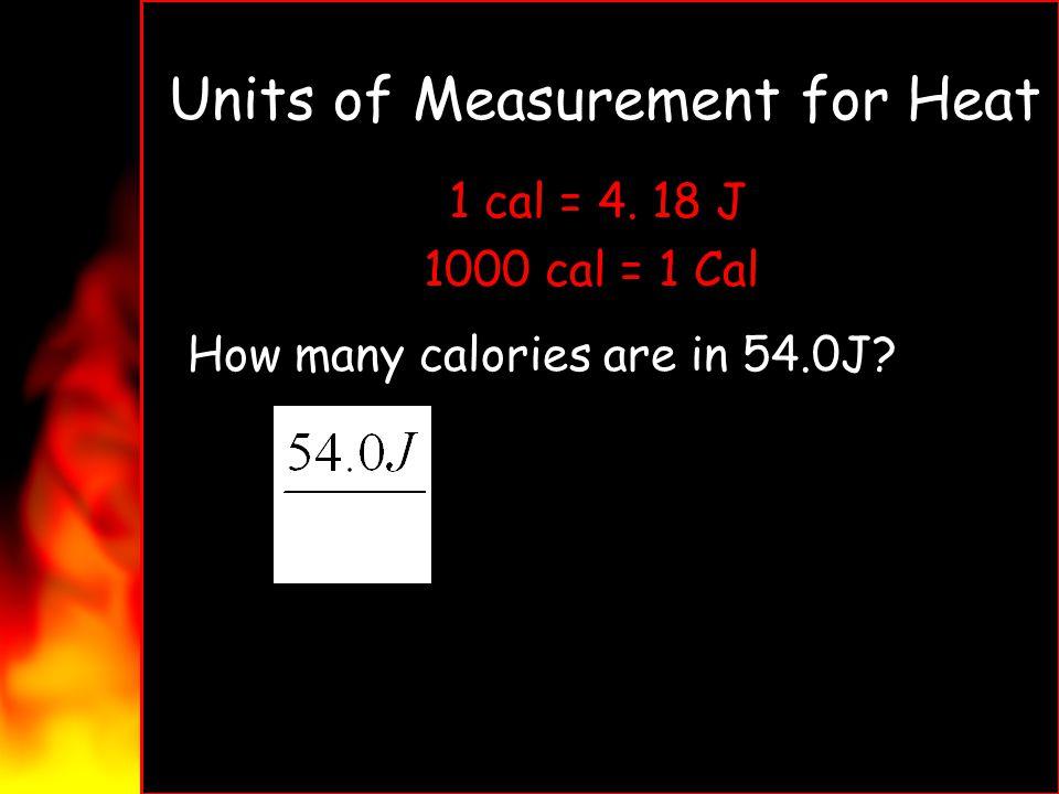 Units of Measurement for Heat