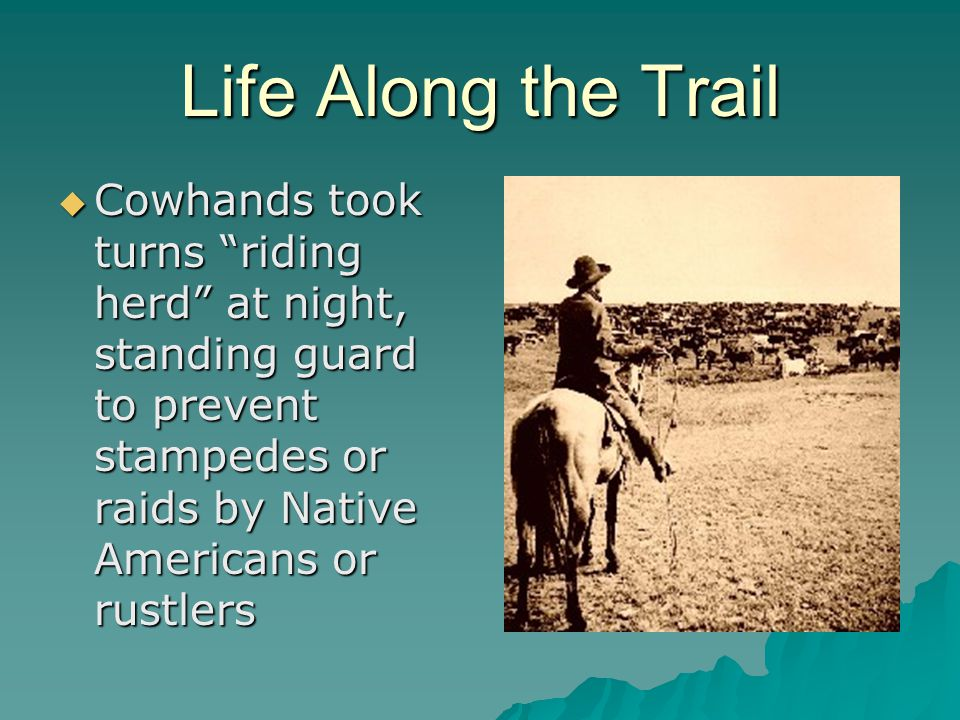 Life Along the Trail Cowhands took turns riding herd at night, standing guard to prevent stampedes or raids by Native Americans or rustlers.
