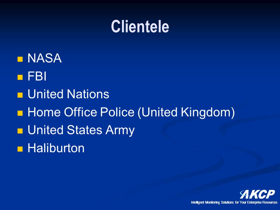 Clientele NASA FBI United Nations Home Office Police (United Kingdom)