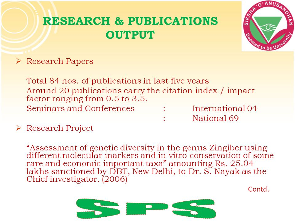RESEARCH & PUBLICATIONS OUTPUT