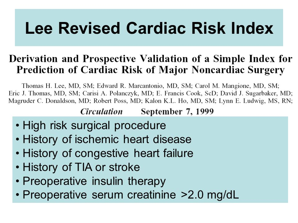 Lee Revised Cardiac Risk Index