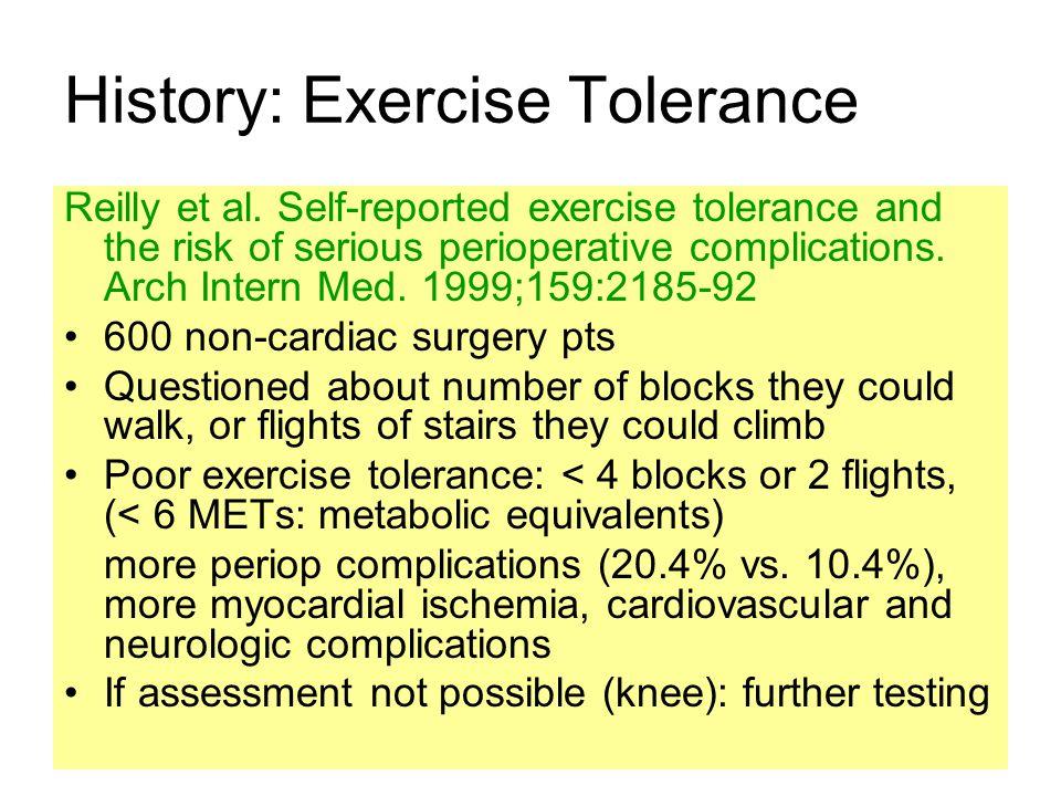 History: Exercise Tolerance
