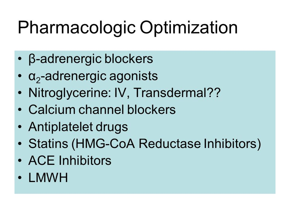 Pharmacologic Optimization