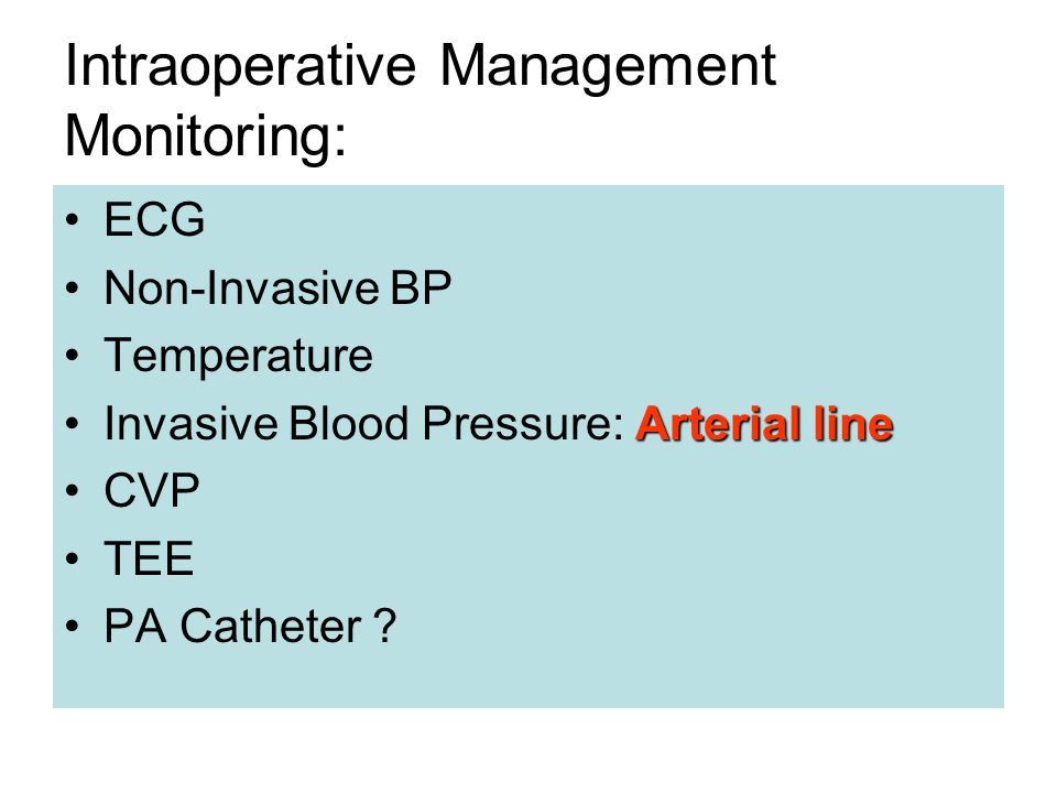Intraoperative Management Monitoring:
