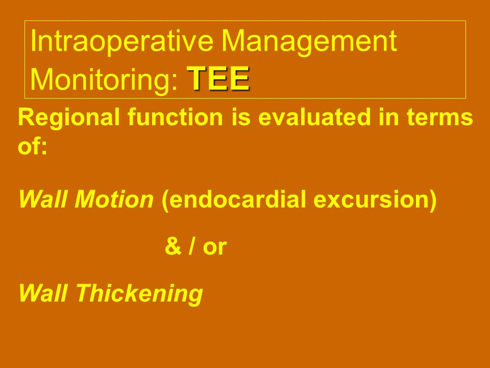 Intraoperative Management Monitoring: TEE