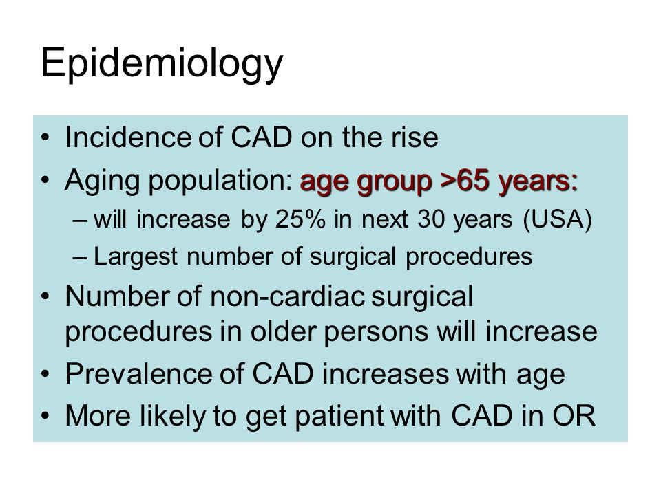 Epidemiology Incidence of CAD on the rise