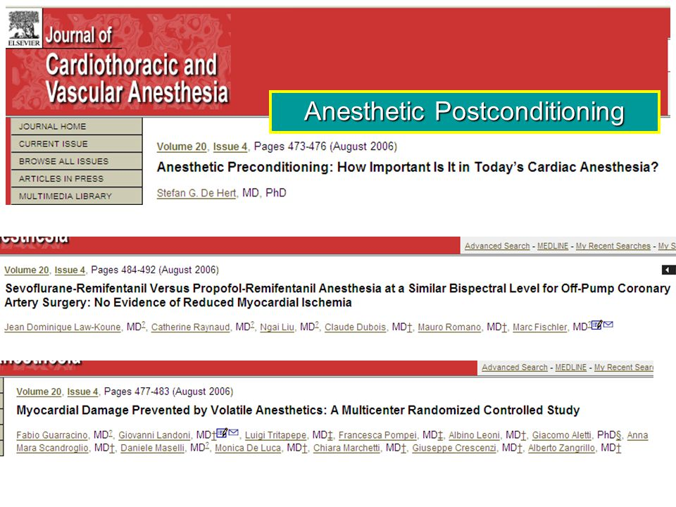 Anesthetic Postconditioning