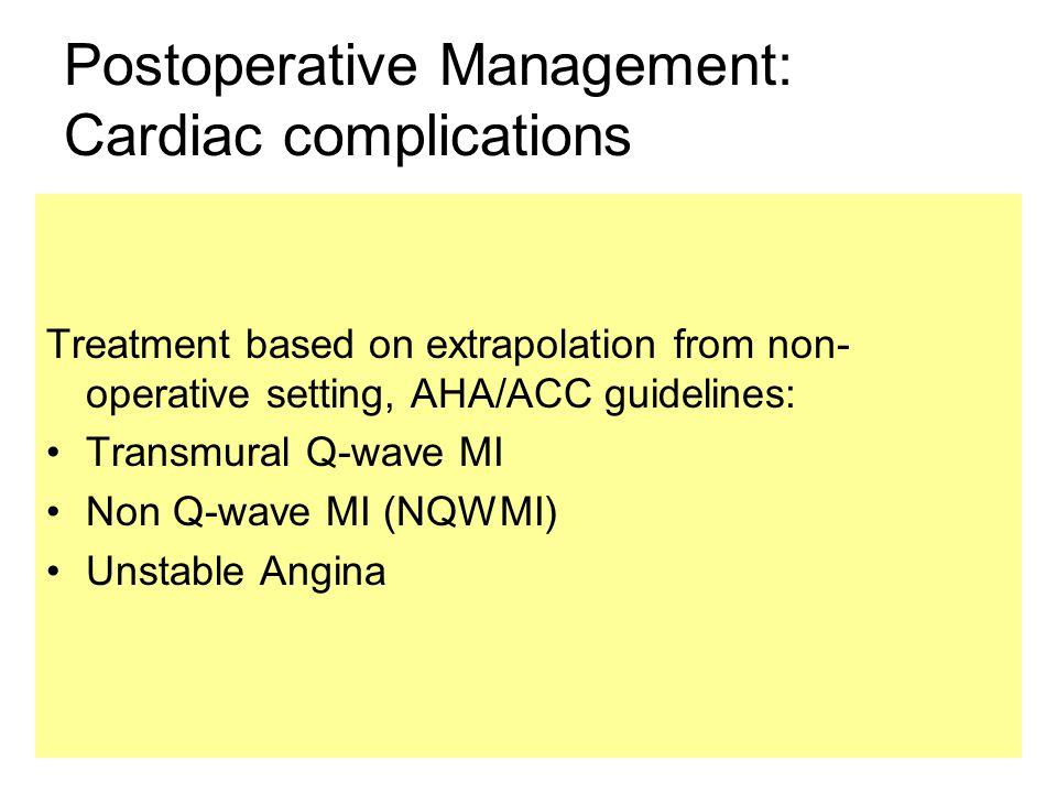 Postoperative Management: Cardiac complications