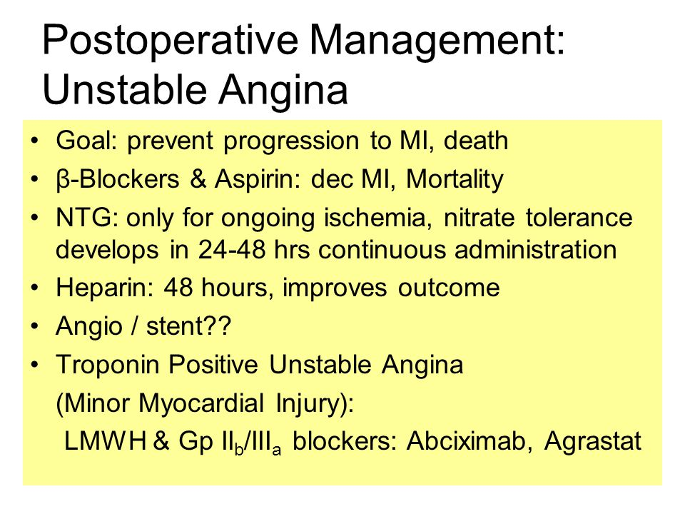 Postoperative Management: Unstable Angina